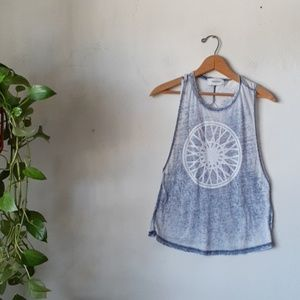 Soulcycle double twist tank graphic top XS